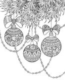 Monochrome Merry Christmas Illustration, Floral Motif. Balls, Bows, Beads Decorations on Tree. Holiday Background in Doodle Line Style. Coloring Book Page vector illustration