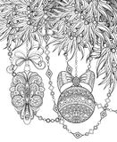 Monochrome Merry Christmas Illustration, Floral Motif. Balls, Bows, Beads Decorations on Tree. Holiday Background in Doodle Line Style. Coloring Book Page stock illustration