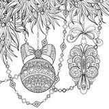 Monochrome Merry Christmas Illustration, Floral Motif. Balls, Bows, Beads Decorations on Tree. Holiday Background in Doodle Line Style. Coloring Book Page royalty free illustration