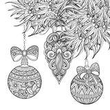 Monochrome Merry Christmas Illustration, Floral Motifs Stock Image