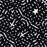 Monochrome messy seamless pattern with parallel lines, black Stock Photos