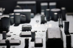 Monochrome microelectronics background chips Royalty Free Stock Image