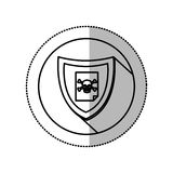 Monochrome middle shadow sticker with circle with shield and file skull and bones Stock Photography