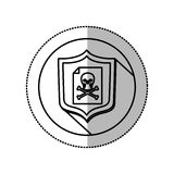 Monochrome middle shadow sticker with circle with shield and file skull and bones Royalty Free Stock Photo