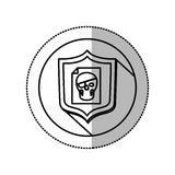 Monochrome middle shadow sticker with circle with shield and file skull Stock Photos