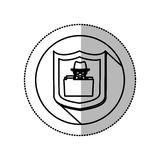 Monochrome middle shadow sticker with circle with shield and folder skull and bones Stock Photography