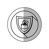 Monochrome middle shadow sticker with circle with shield and folder skull and bones Stock Image