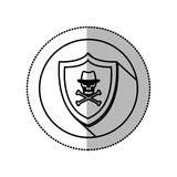 Monochrome middle shadow sticker with circle with shield withskull and bones with hat Stock Photos