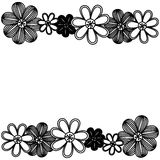 Monochrome minimalistic background with flowers in row both sides Royalty Free Stock Photo