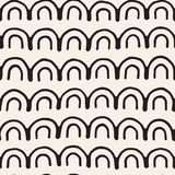 Monochrome minimalistic tribal seamless pattern with arc lines. Stock Images