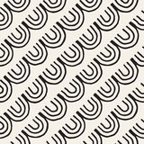 Monochrome minimalistic tribal seamless pattern with arc lines. Vector background with inky black art on white rounded Royalty Free Stock Image