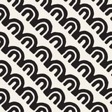 Monochrome minimalistic tribal seamless pattern with arc lines. Vector background with inky black art on white rounded Royalty Free Stock Photography