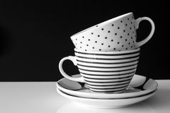 Monochrome modern cups Stock Photo