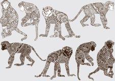 Monochrome monkey style mehendi Royalty Free Stock Image