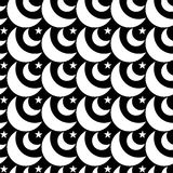Monochrome Moons and Stars Seamless Background. Black and white moons and stars on a dark background. Seamless texture pattern background Stock Photos