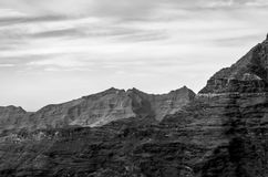 Monochrome moonscape in the mountains. Monochrome rough and lost moonscape in the mountains stock photo