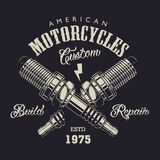 Monochrome motorcycle service logotype. With letterings and crossed spark plugs in vintage style isolated vector illustration royalty free illustration