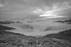 Monochrome mountain alps panorama- Valle Strona. Landscape black and white photography in the italian alps, really wonderful view from the top of the Strona stock photo