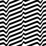 Monochrome movement illusion. White black abstract wave line optical background. Art design template. Vector illustration Stock Images