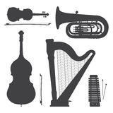 Monochrome music instruments silhouettes illustration collection Stock Image