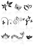 Monochrome nature icons Stock Photography