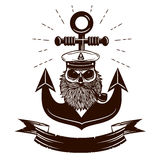 Monochrome nautical marine image scull with anchor on background. Royalty Free Stock Photos
