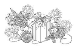 Monochrome New Year Illustration with Gifts and Christmas Tree Royalty Free Stock Image