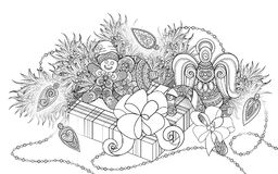 Monochrome New Year Illustration with Gifts and Christmas Tree. Candy Cane, Angel, Gingerbread Man, Glowing Garland. Holiday Background in Doodle Line Style Stock Photography
