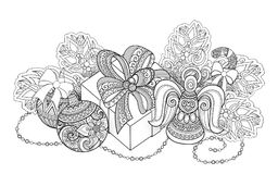 Monochrome New Year Illustration with Gifts and Christmas Tree Royalty Free Stock Images