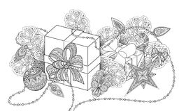 Monochrome New Year Illustration with Gifts and Christmas Tree Stock Image
