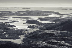 Monochrome Norwegian coastal landscape Royalty Free Stock Photography