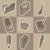 Monochrome office icons. Set of monochrome office retro icons. Hatched in style of engraving. Vector illustration Stock Images