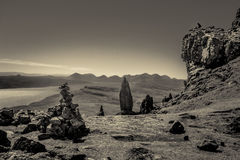 Monochrome Old Man of Storr stock photo