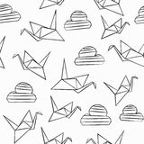 Monochrome origami seamless pattern Stock Image