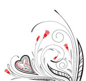 Monochrome ornament with heart and floral elements. Valentine`s floral ornament with heart stock illustration