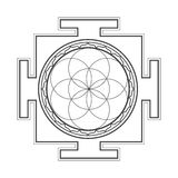 Monochrome outline seed of life yantra illustration Royalty Free Stock Photos