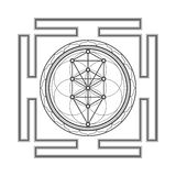 Monochrome outline tree of life yantra illustration Royalty Free Stock Photo