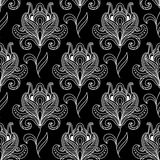 Monochrome paisley seamless floral pattern Stock Images