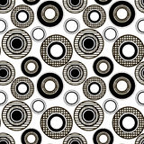 Monochrome pattern of the checkered and striped circles. Monochrome vector seamless pattern of the checkered and striped circles Royalty Free Stock Photo