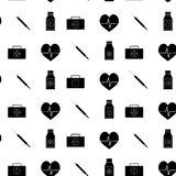 Monochrome pattern medicine. Injection and first aid kit, vector illustration Royalty Free Stock Images