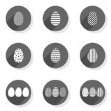 Monochrome patterned eggs flat modern icon set Royalty Free Stock Image