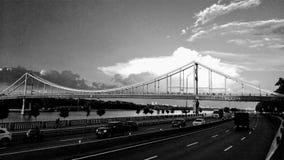 Monochrome of the pedestrian bridge in Kiev Royalty Free Stock Photo