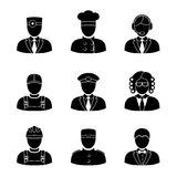 Monochrome people faces of different professions - Stock Image