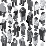 Monochrome People Seamless Pattern Royalty Free Stock Photos