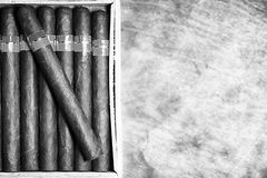 Monochrome photo of large wooden box of cigars handmade Cuban stock photography
