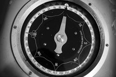 Monochrome photo of old nautical gyrocompass repeater Stock Photos
