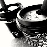 Monochrome Photo of Two Cups of Coffee Stock Photos