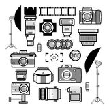 Monochrome photographer kit, camera elements. Vector background Royalty Free Stock Image