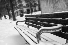 Monochrome Photography of Bench Covered with Snow Royalty Free Stock Photos