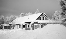Monochrome Photography of Snow Capped House Stock Images